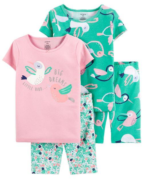 Pijamas De Algodón Ajuste Cómodo 100% Ave 4 Piezas Carter's