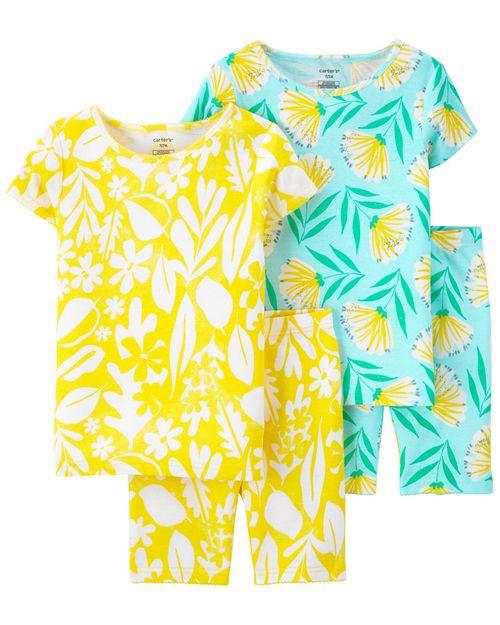 Pijamas De Algodón Ajuste Cómodo 100% Floral 4 Piezas Carter's