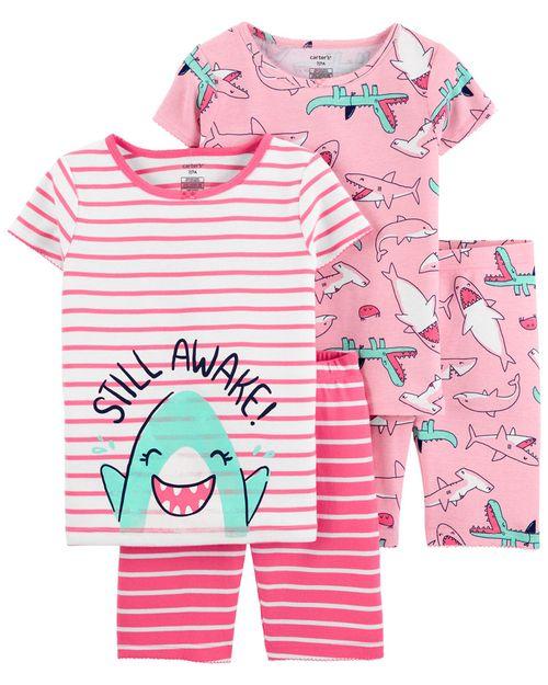 Pijamas De Algodón Ajuste Cómodo 100% Tiburones 4 Piezas Carter's