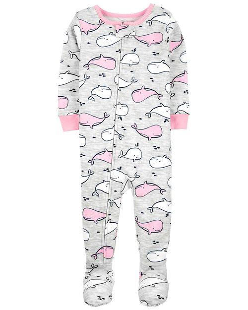 Pijama 100% De Algodón, Ajuste Cómodo Con Pies, Diseño De Ballena Carter's