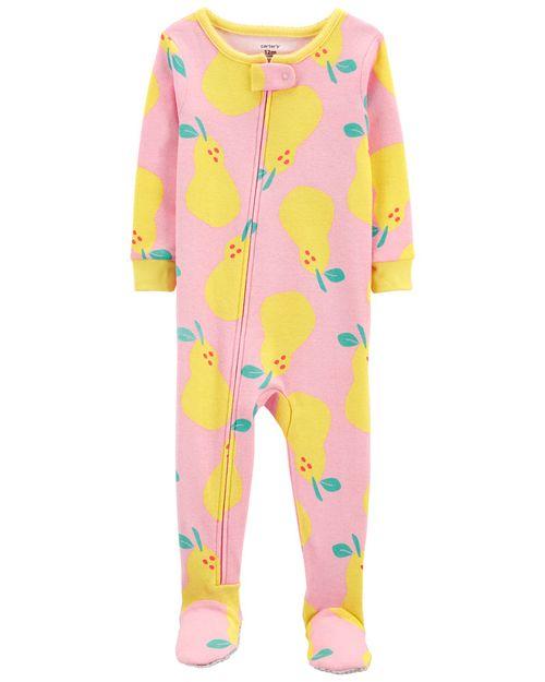 Pijama 100% De Algodón, Ajuste Cómodo Con Pies, Diseño De Pera Carter's