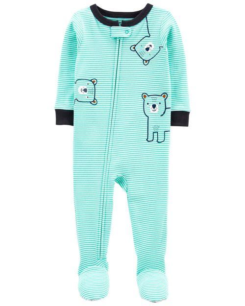 Pijama De 1 Pieza 100% De Algodón, Ajuste Cómodo Con Pies, Diseño A Rayas Carter's