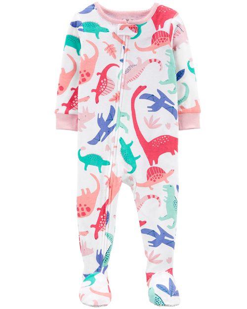Pijama De 1 Pieza 100% De Algodón, Ajuste Cómodo Con Pies, Diseño De Dinosaurio Carter's