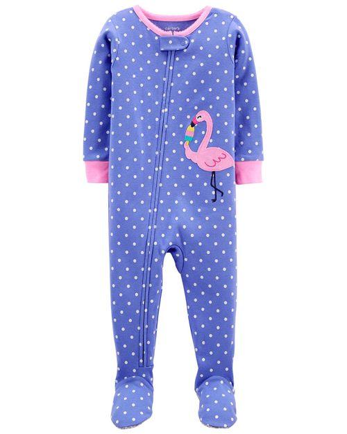 Pijama De 1 Pieza 100% De Algodón, Ajuste Cómodo Con Pies, Diseño De Flamingo Carter's