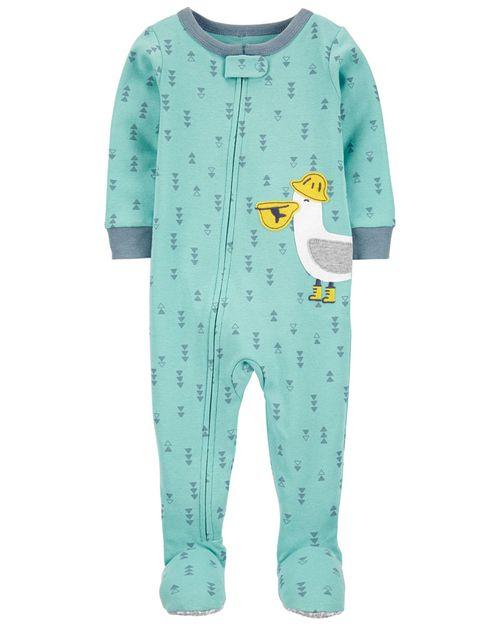 Pijama De 1 Pieza 100% De Algodón, Ajuste Cómodo Con Pies, Diseño De Pelícano Carter's