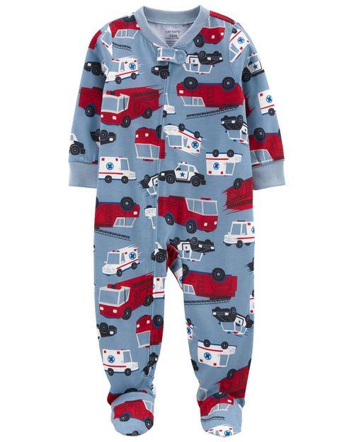 Pijama De 1 Pieza, Ajuste Suelto Con Pies, Diseño De Camión De Bomberos Carter's