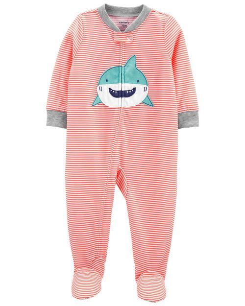 Pijama De 1 Pieza, Ajuste Suelto Con Pies, Diseño De Tiburón Carter's