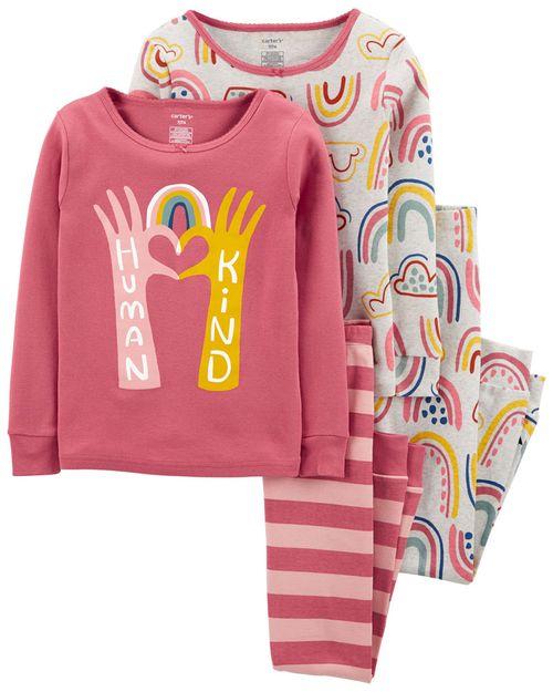 Pijama De Algodón, Arcoíris, 100% Ajuste Ceñido De 4 Piezas Carter's