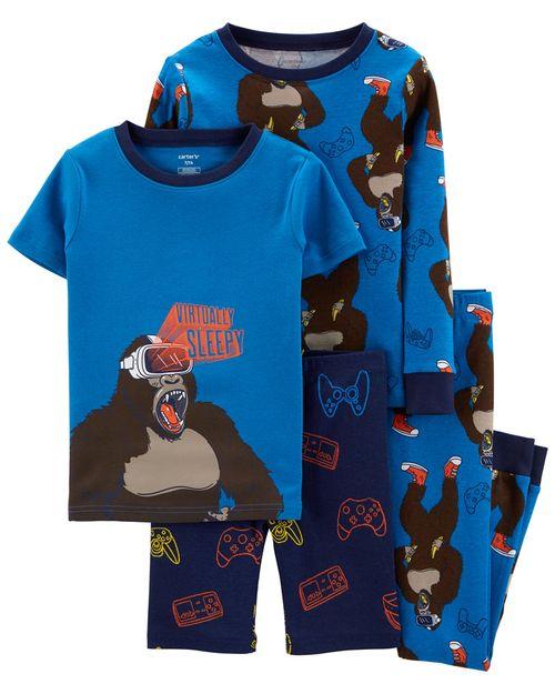 Pijama De Algodón, Gorilas, 100% Ajuste Ceñido De 4 Piezas Carter's