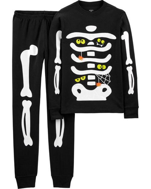 Pijama De 2 Piezas Esqueleto De Halloween Brillante Para Adulto 100% Algodón Ajustado Carter's