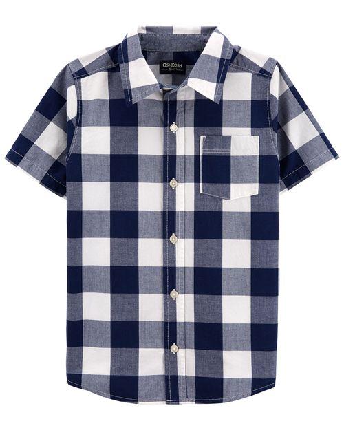 Camisa De Botones Al Frente De Tartán Oshkosh B'Gosh