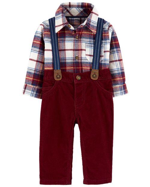 Conjunto De 2 Piezas Camisa A Cuadros y Pantalón Con Tirantes Carter's