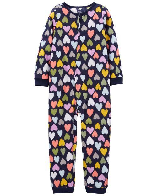 Pijama Fleece Con Estampado De Corazones Carter's