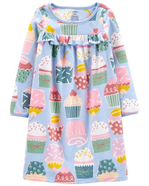 Camisón De Fleece Con Estampado De Cupcakes Carter's
