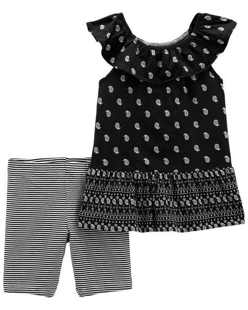 Conjunto De 2 Piezas Blusa Con Diseño Paisley Y Short Ciclista Carter's