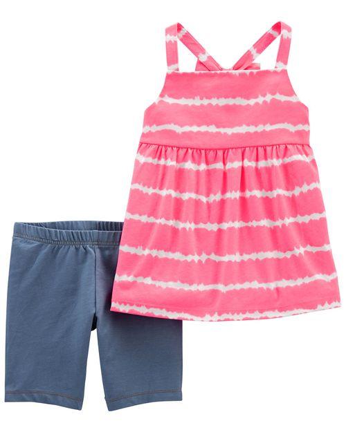 Conjunto De 2 Piezas Blusa Con Diseño Tie-Dye Y Short Ciclista De Mezclilla Carter's