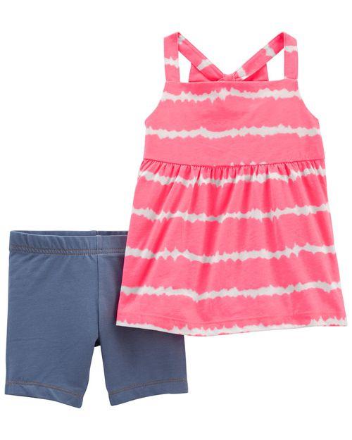 Conjunto De 2 Piezas Blusa Con Diseño Tie-Dye Y Short Ciclista Carter's