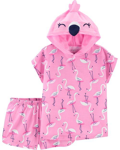 Pijama De Poliéster Flamingo Con Capucha De 2 Piezas. Carter's