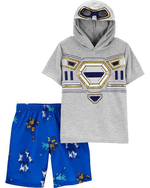Pijama De Poliéster Con Capucha De Robot De 2 Piezas Carter's