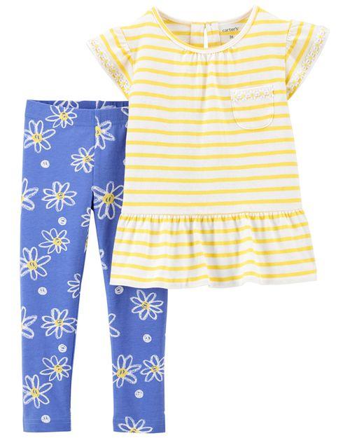 Conjunto de 2 prendas Blusa a rayas y Leggings con estampado floral Carter's