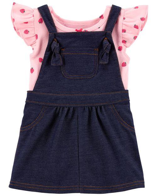 Conjunto de 2 prendas Falda y pañalero con estampado de Fresas Carter's