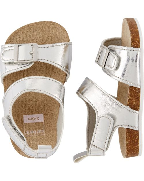 Sandalias metálicas para bebé con detalles de corcho Carter's