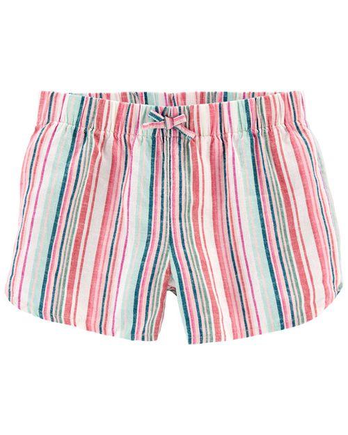 Shorts Ajustables De Lino A Rayas Carter's