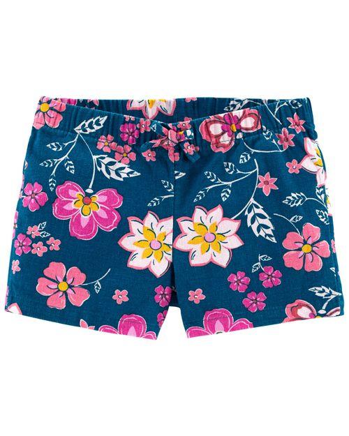 Shorts Ajustables De Lino Con Estampado Floral Carter's