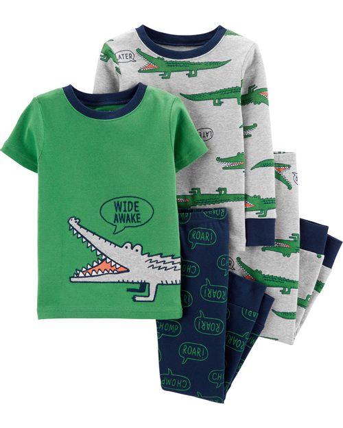 Set De 4 Piezas De Pijamas Con Ajuste Cómodo 100% Algodón Con Estampado De Cocodrilo Carter's