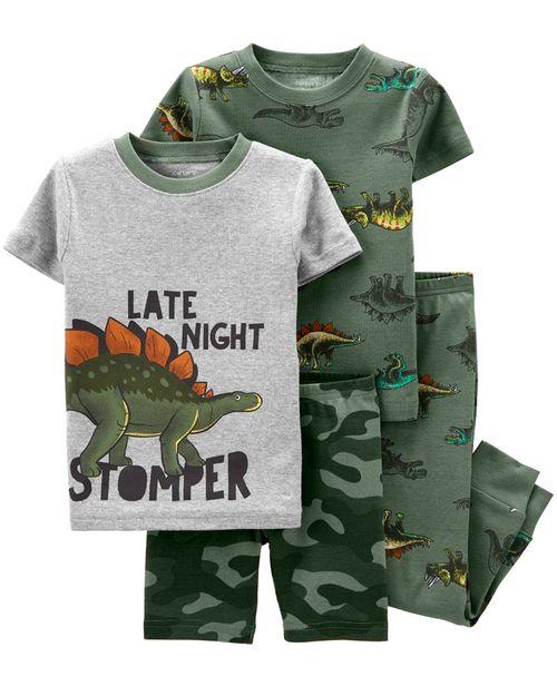 Set De 4 Piezas De Pijamas Con Ajuste Cómodo 100% Algodón Con Estampado De Dinosaurio Carter's