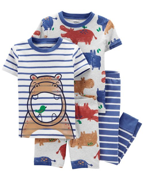 Set De 4 Piezas De Pijamas Con Ajuste Cómodo 100% Algodón Con Estampado De Hipopótamo Carter's