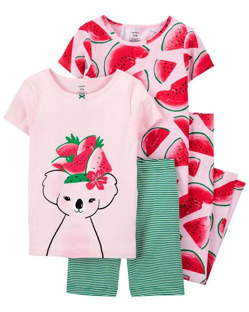 Set De 4 Piezas De Pijamas Con Ajuste Cómodo 100% Algodón Con Estampado De Sandía Carter's