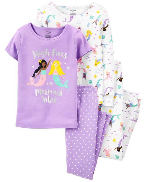 Set De 4 Piezas De Pijamas Con Ajuste Cómodo 100% Algodón Con Estampado De Sirena Carter's
