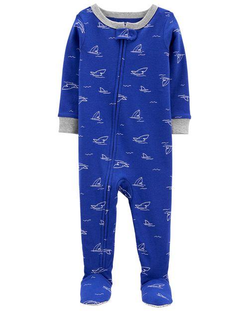 Pijama De 1 Pieza 100% De Algodón, Ajuste Cómodo Con Pies, Diseño De Tiburón Carter's