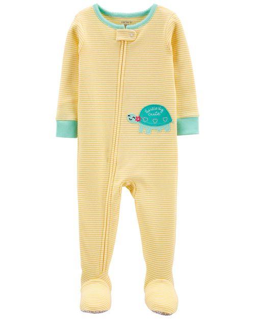 Pijama De 1 Pieza 100% De Algodón, Ajuste Cómodo Con Pies, Diseño De Tortuga Carter's