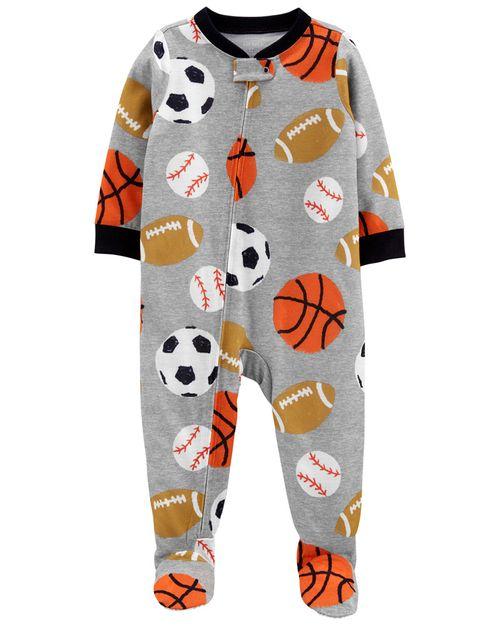 Pijama De 1 Pieza 100% De Algodón, Ajuste Cómodo Con Pies, Diseño Deportivo Carter's