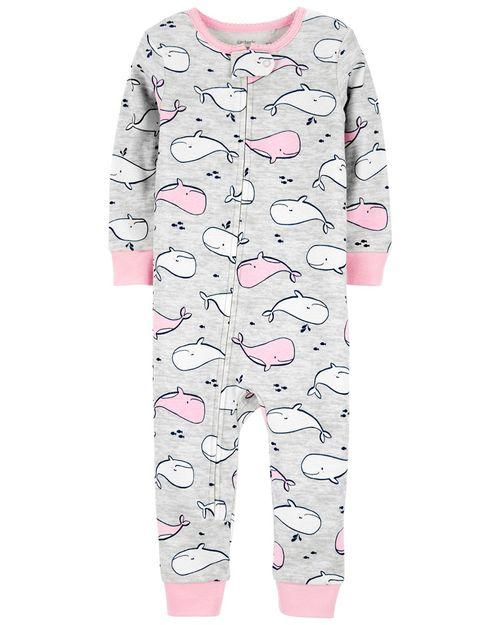 Pijama De 1 Pieza 100% De Algodón, Ajuste Cómodo Sin Pies, Diseño De Ballena Carter's