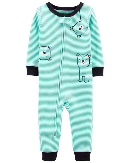 Pijama De 1 Pieza 100% De Algodón, Ajuste Cómodo, Diseño A Rayas Carter's