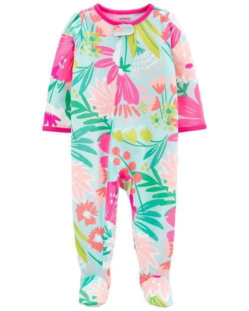 Pijama De 1 Pieza, Ajuste Suelto Con Pies, Estampado Floral Carter's