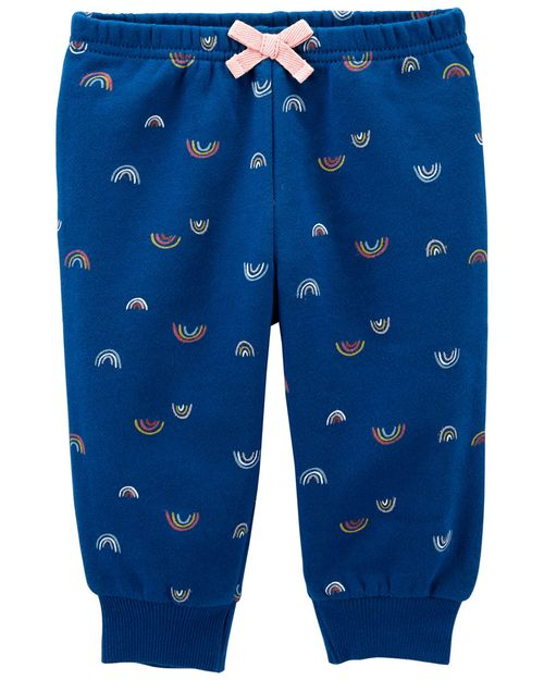 Pantalones Elásticos De Tela Polar Con Arcoíris Carter's