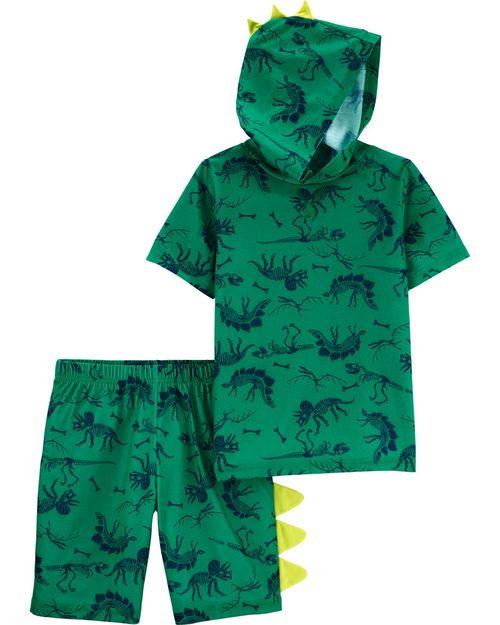 Pijama De Poliéster Con Capucha De Dinosaurio De 2 Piezas. Carter's