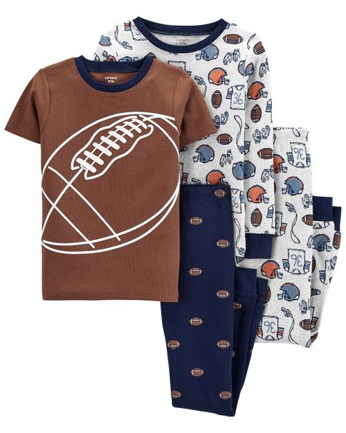 Set De 4 Piezas De Pijamas Con Ajuste Cómodo 100% Algodón Con Estampado De Fútbol Carter's